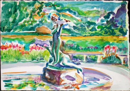 Garden Children Statue with the Backdrop of Color