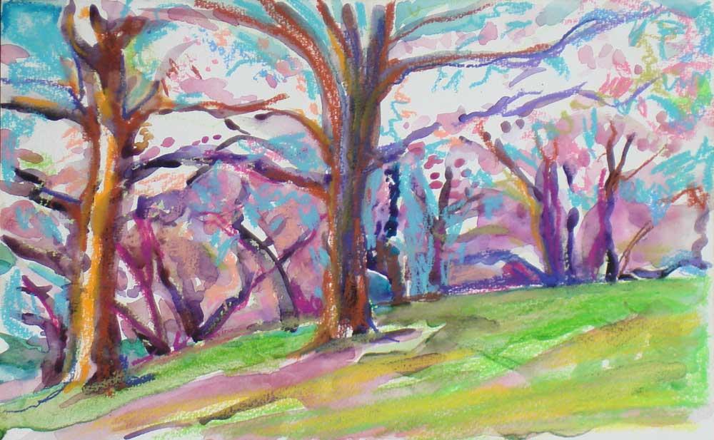 Lois' Oil Pastel-72ndst Pilgrim's Memorial Statue-Central Park Blossoms