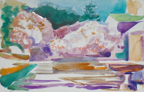 Watercolor of Magnolias in the Brooklyn Botanical Garden's Plaza