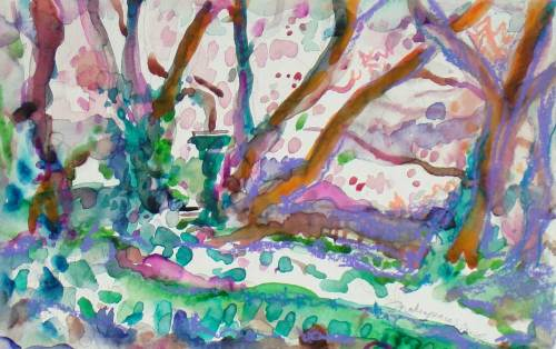 Watercolor of White Cherry Blossoms and Ivy ground cover in Central Park