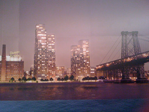 Preview of the New Domino Development seen from Manhattan at night