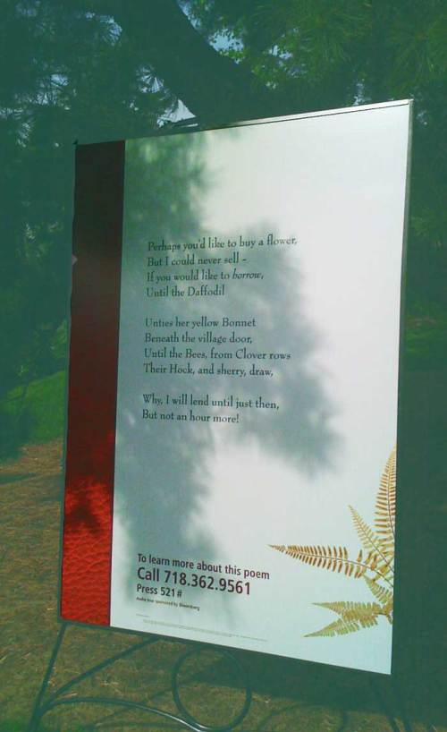 Poetry is placed everywhere on NYBG's grounds