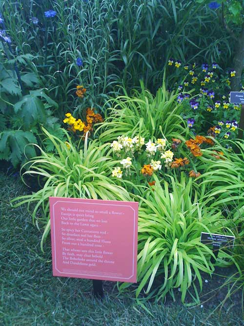 And on Small Displays next to the Flowers in the Conservatory Exhibit
