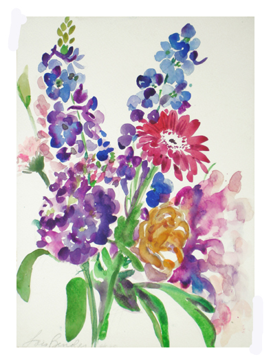 Her Garden Inspired Emily's Words which in turn Inspires Art.... Here's my spring flower bouquet... delphiniums, peonies....Here's to Emily Dickinson