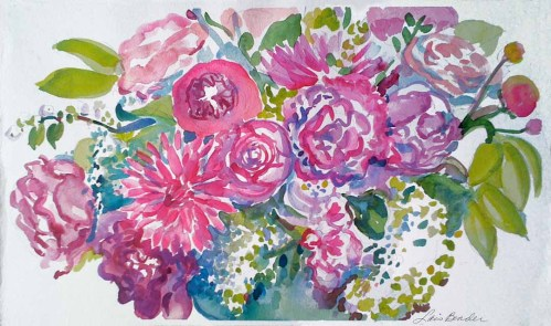 Bouquet from Annie Lavinio, the Sag Harbor Florist, captured in a Watercolor by GardenSpirits' Lois Bender