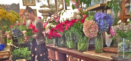 The Florist at work to make a perfect bouquet...... Beautiful to paint!